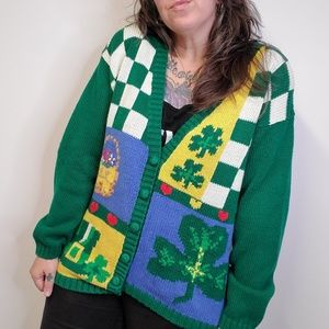 Vtg 90s ALEXANDRA BARTLETT Irish Novelty Cardigan